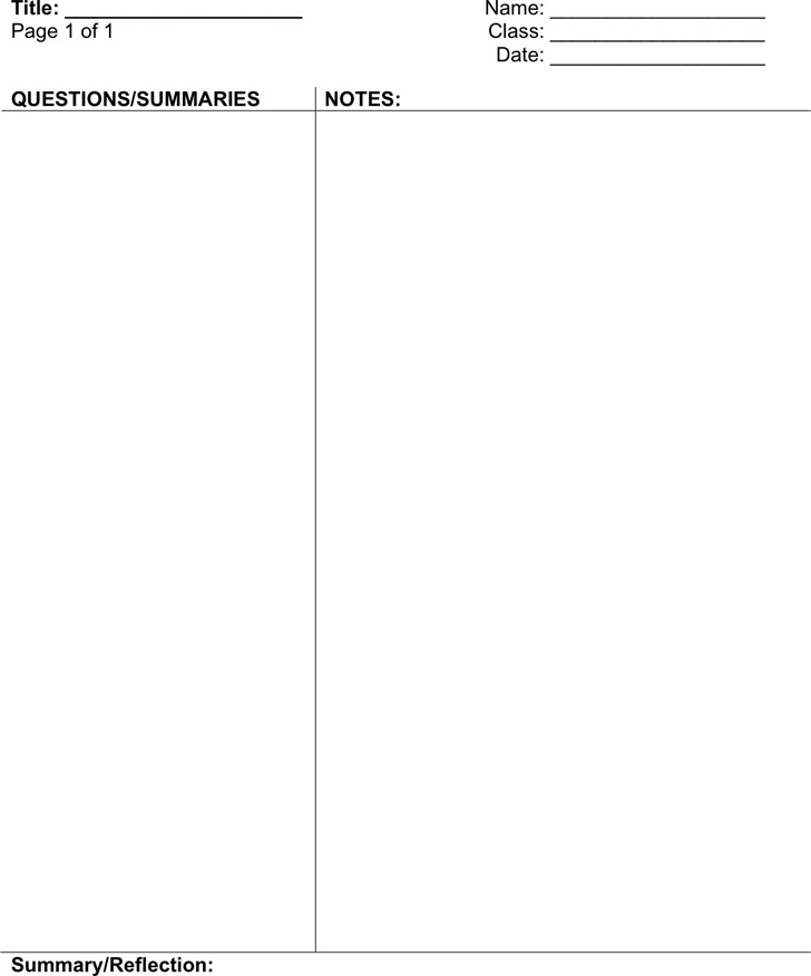 Cornell Notes Template Download Free  Premium Templates, Forms