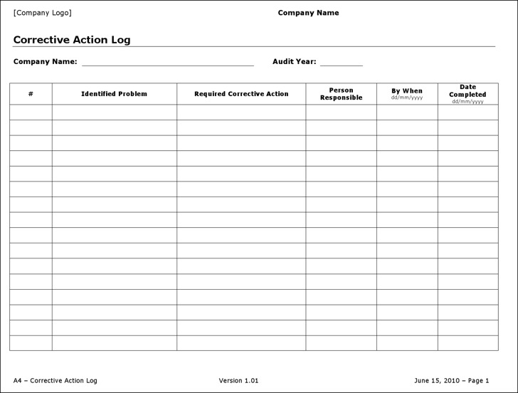 Action Log Templates Download Free  Premium Templates, Forms
