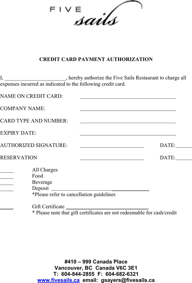 Credit Card Payment Authorization Template Download Free  Premium - card authorization template