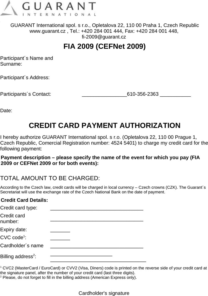 Top Result 60 Unique Authorization to Charge Credit Card Template - authorization to use credit card