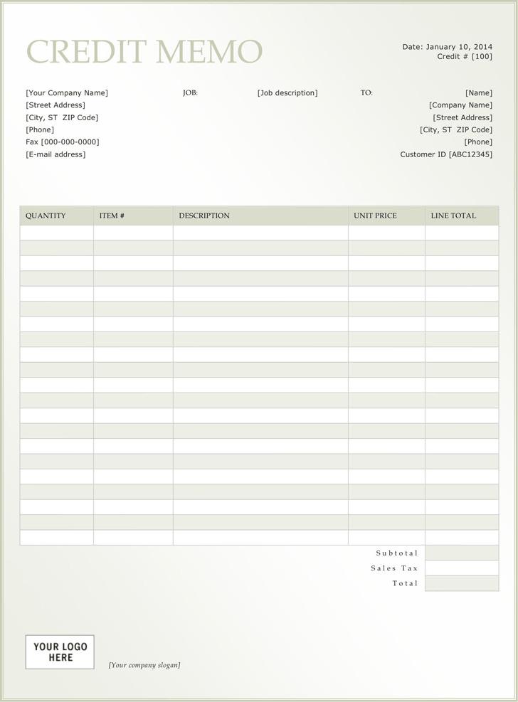 Credit Memo Template Download Free  Premium Templates, Forms