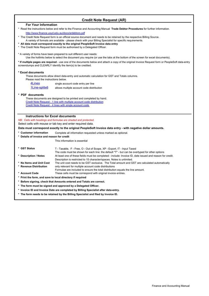 Procedure Manual Template Employment Manual Microsoft Word Manual   Credit  Note Request Form