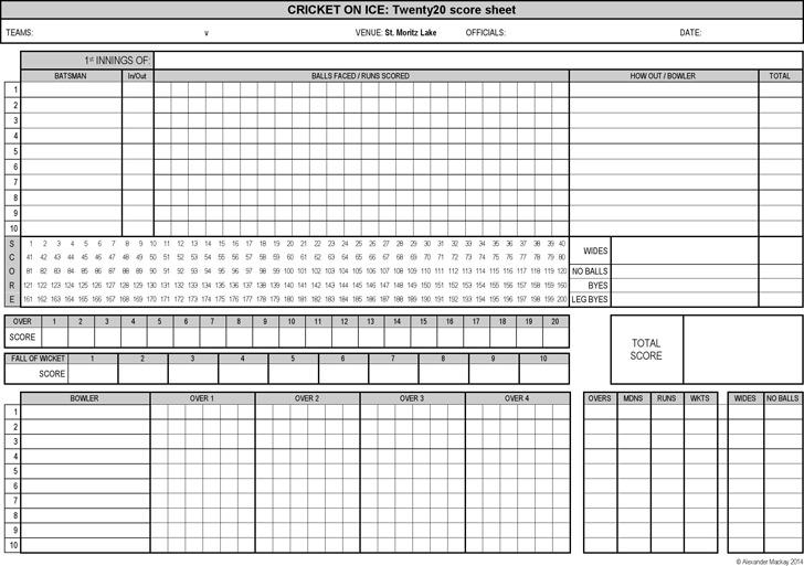 Cricket Score Sheet Download Free  Premium Templates, Forms