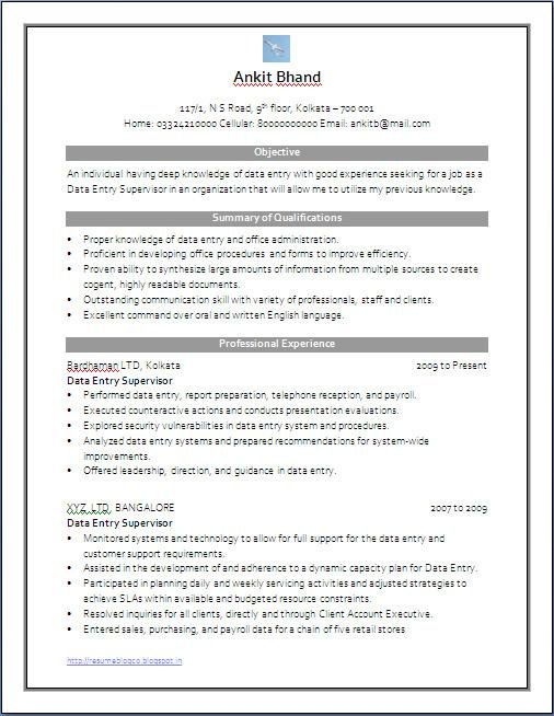 Microsoft Word Resume Template Download Free  Premium Templates - data entry supervisor resume