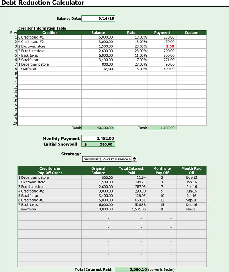 Debt Payoff Calculators Download Free \ Premium Templates, Forms - debt payoff calculator