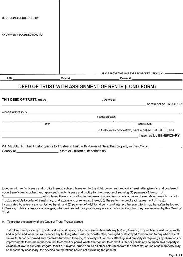 Deed of Trust Form Download Free  Premium Templates, Forms - deed of trust form