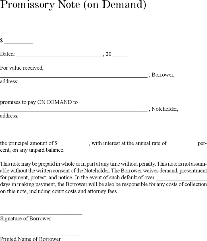 demand promissory note template - 28 images - demand promissory note