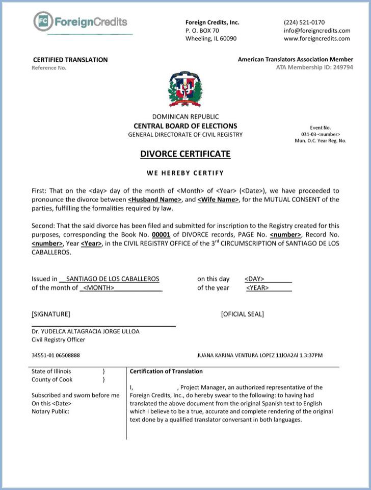 Divorce Certificate Templates Download Free  Premium Templates