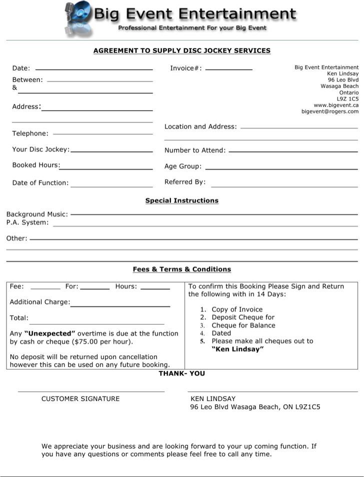 Download Dj Invoice Template Free RabitahnetDj Invoice Receipt - dj contract template