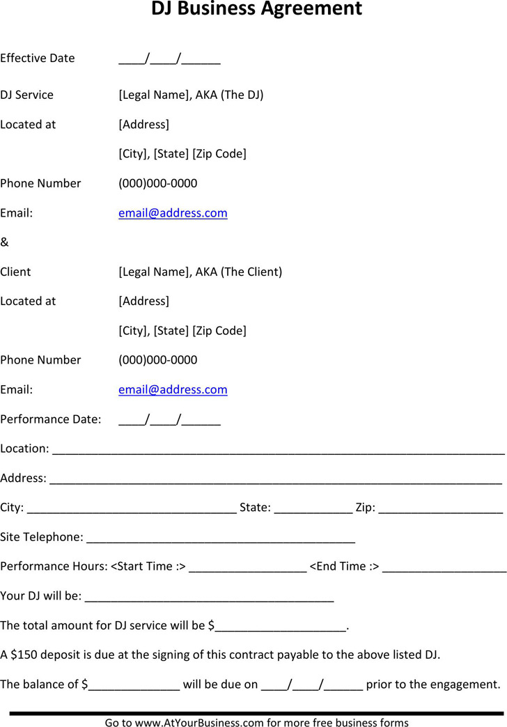 8+ Dj Contract Template Free Download