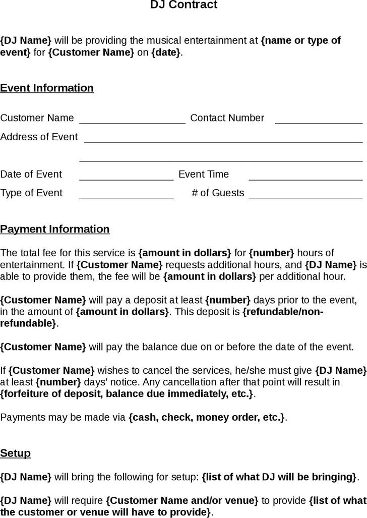Dj Contract Template Download Free \ Premium Templates, Forms - dj contract template