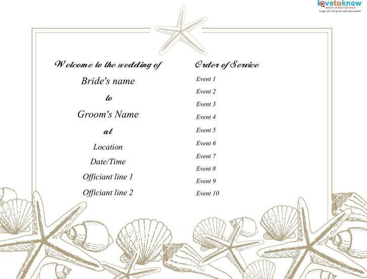 download free wedding program template