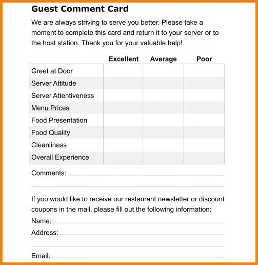 Comment Card Template Download Free \ Premium Templates, Forms - guest card template