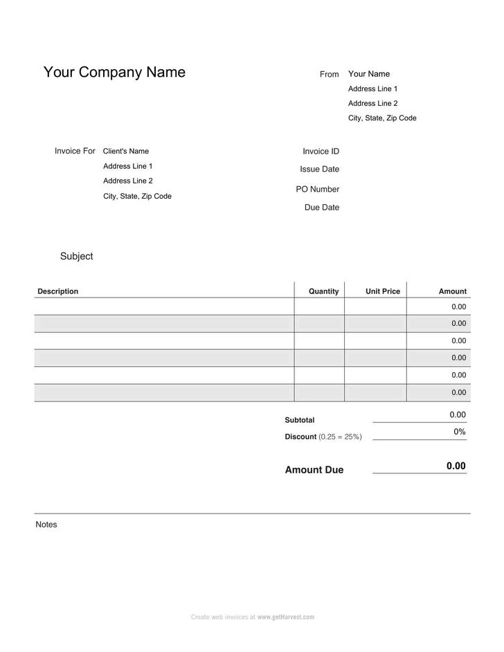 payroll invoice – Payroll Invoice Template
