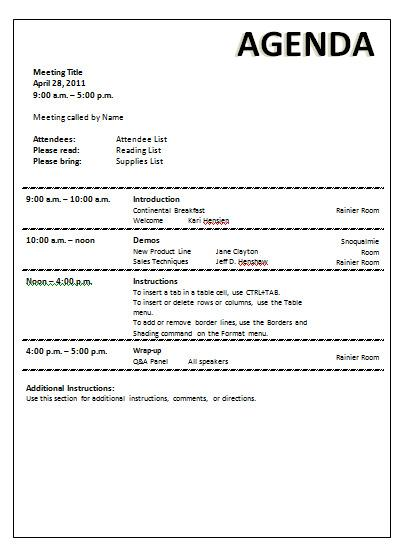 Meeting Agenda Template Download Free  Premium Templates, Forms