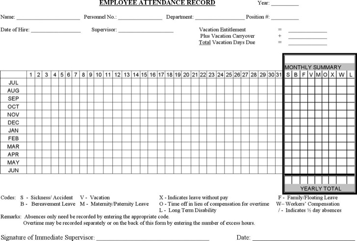 Attendance Form Templates printable attendance sheets template - employee record form