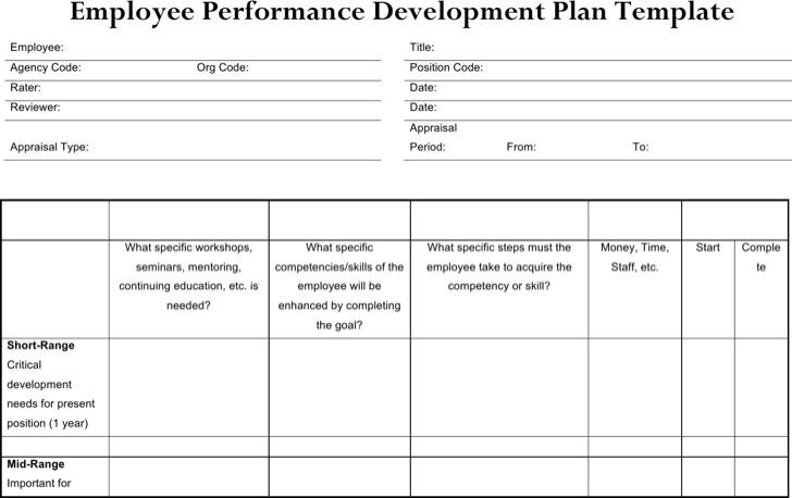Sample Performance Development Plan Templates to get better Work - development plan templates