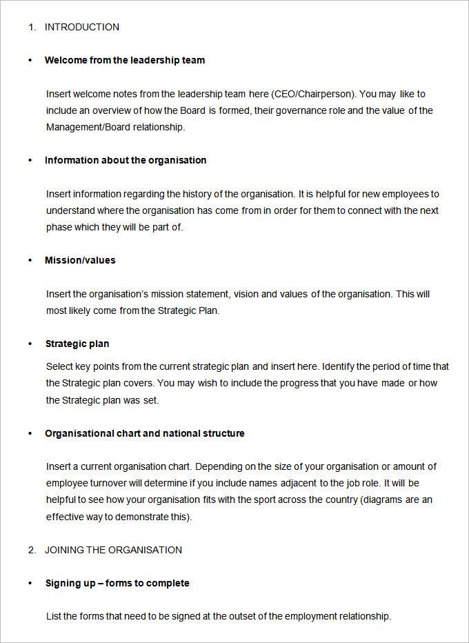 Sample Employee Handbook \ Manual Templates Download Free - employee manual template