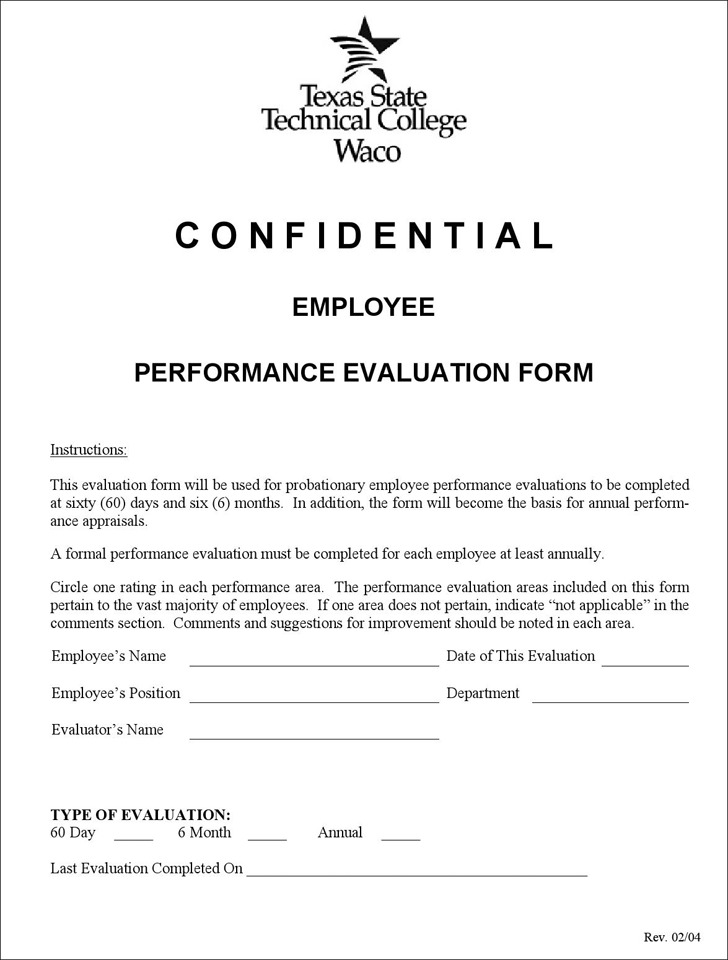 Employee Performance Evaluation Form Download Free  Premium