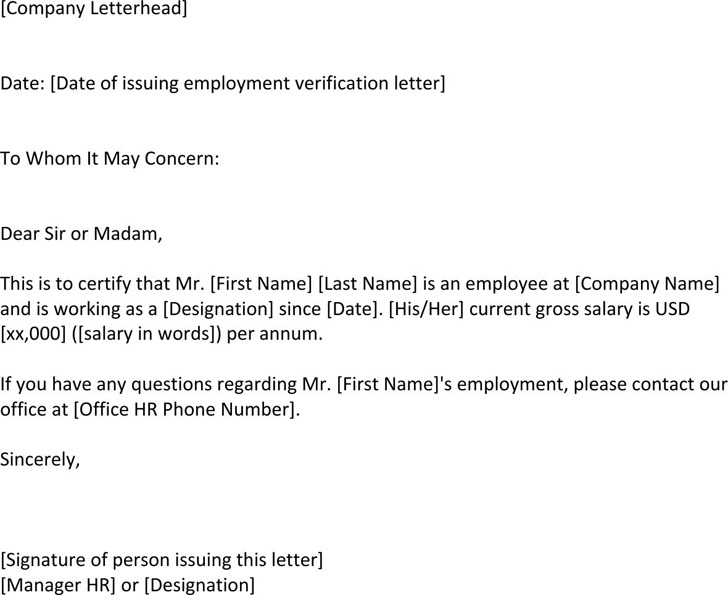 4+ Employment Verification Letter Template Free Download