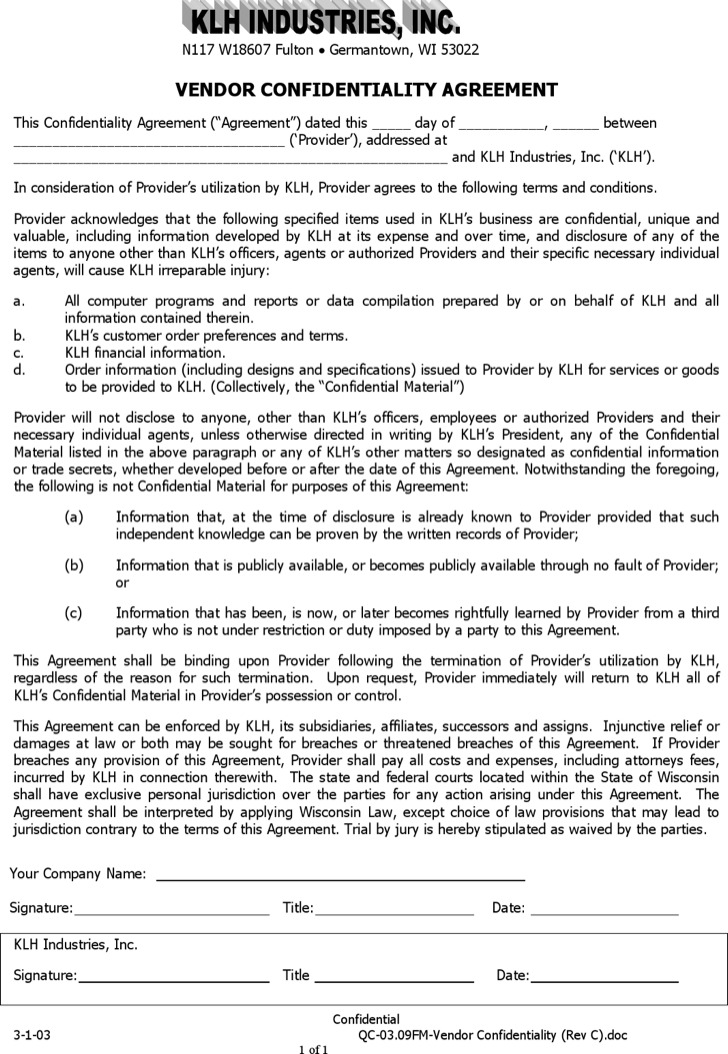 Vendor Confidentiality Agreement Templates Download Free - vendor confidentiality agreement