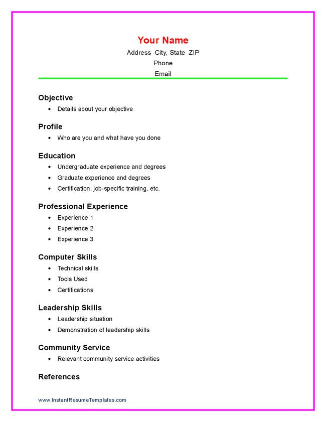A Sample High School Resume | A Sample Resume For A Highschool Student