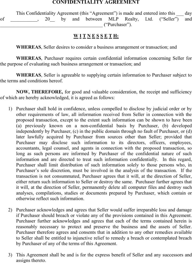 ... Employee Confidentiality Agreement Template Best Business   Volunteer  Confidentiality Agreement ...