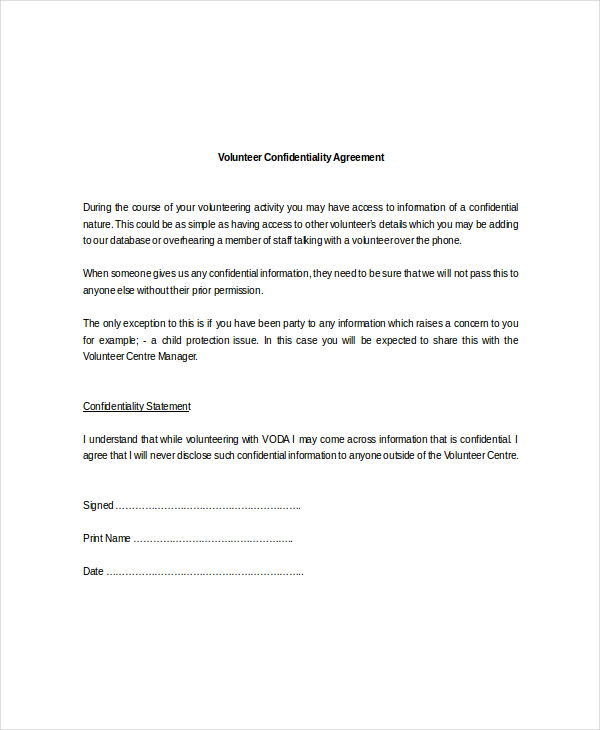 Sample Client Confidentiality Agreements Volunteer Download - sample client confidentiality agreements
