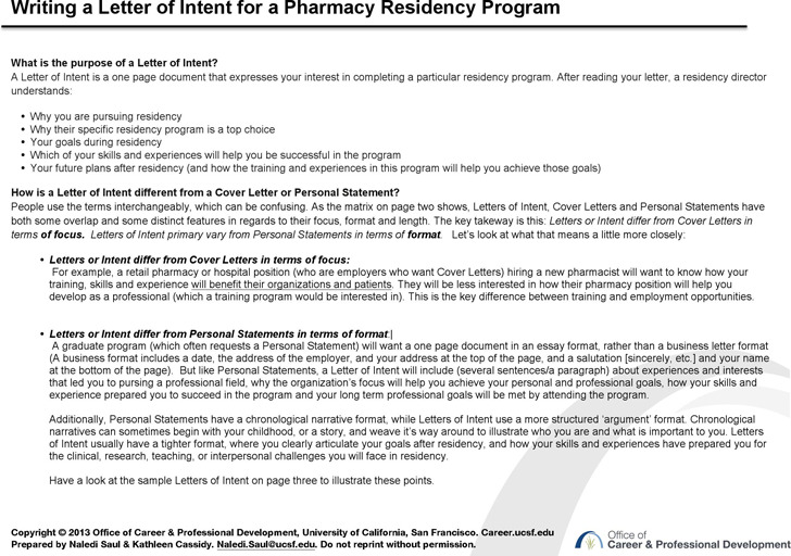 Letter Of Intent Example Download Free \ Premium TemplatesSample - sample pharmacy residency letter of intent