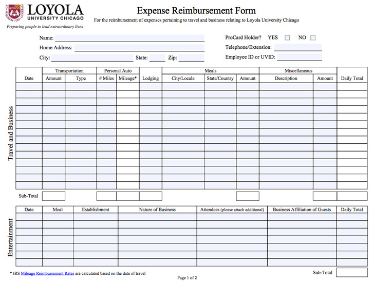 10+ Expense Reimbursement Form Free Download