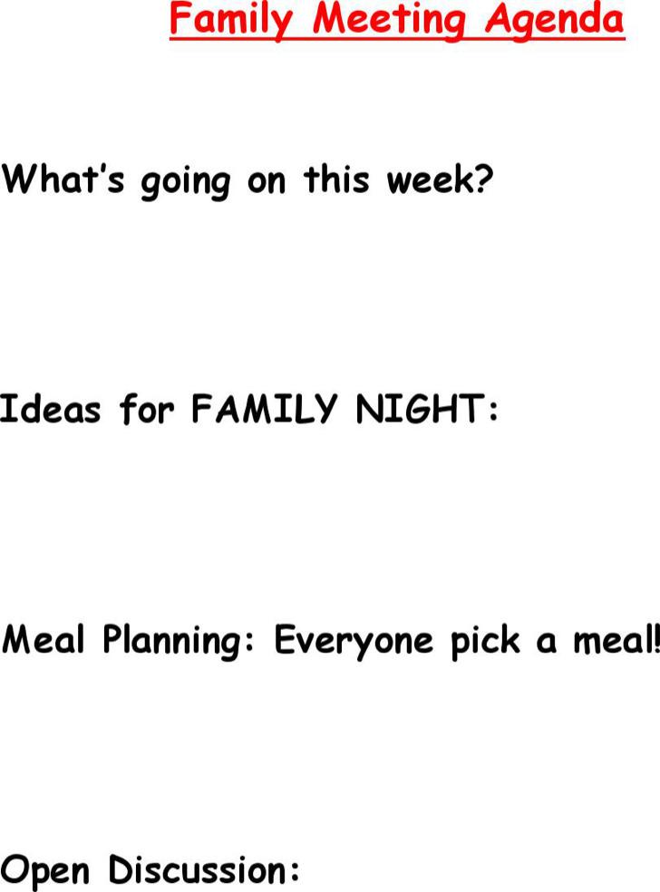 Family Meeting Agenda Templates Download Free  Premium Templates - family agenda