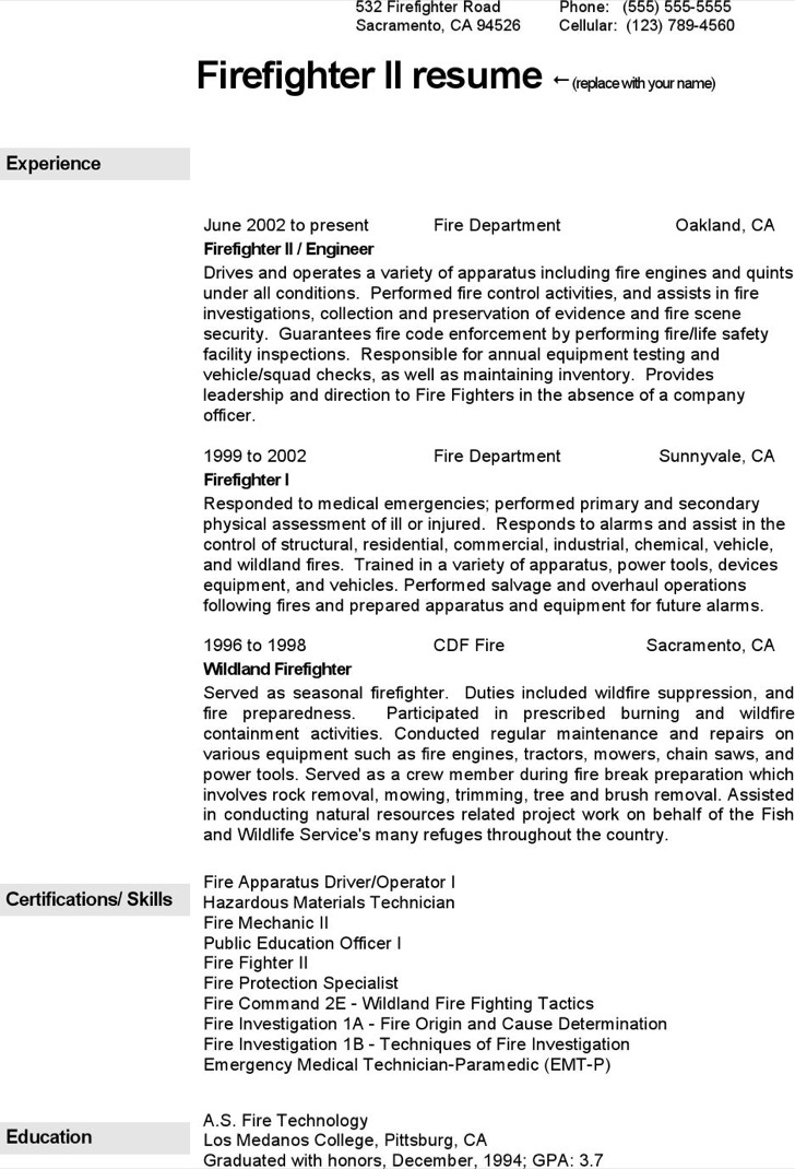 Firefighter Resume Templates Free Download Premium Paramedic Objective . Firefighter  Resume ...  Firefighter Resume