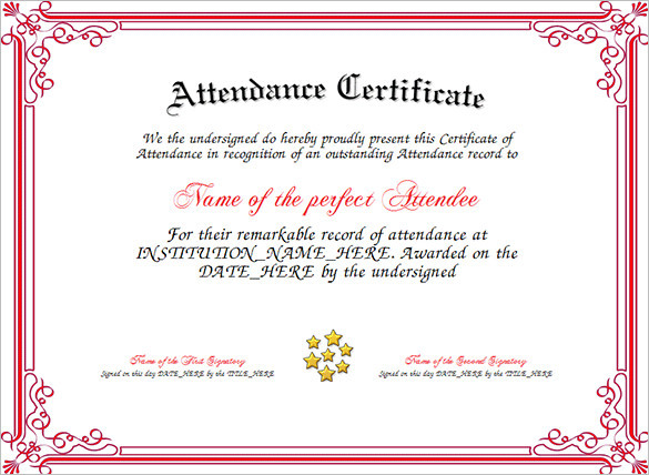 Attendance Certificate Template Download Free \ Premium - attendance certificate template
