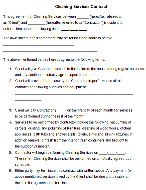 Independent Contractor Agreement For Janitorial Services Best - independent contractor agreement form