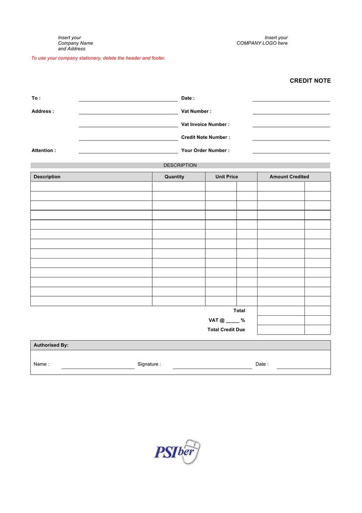 Credit Note Template Doc Image collections - Template Design Ideas