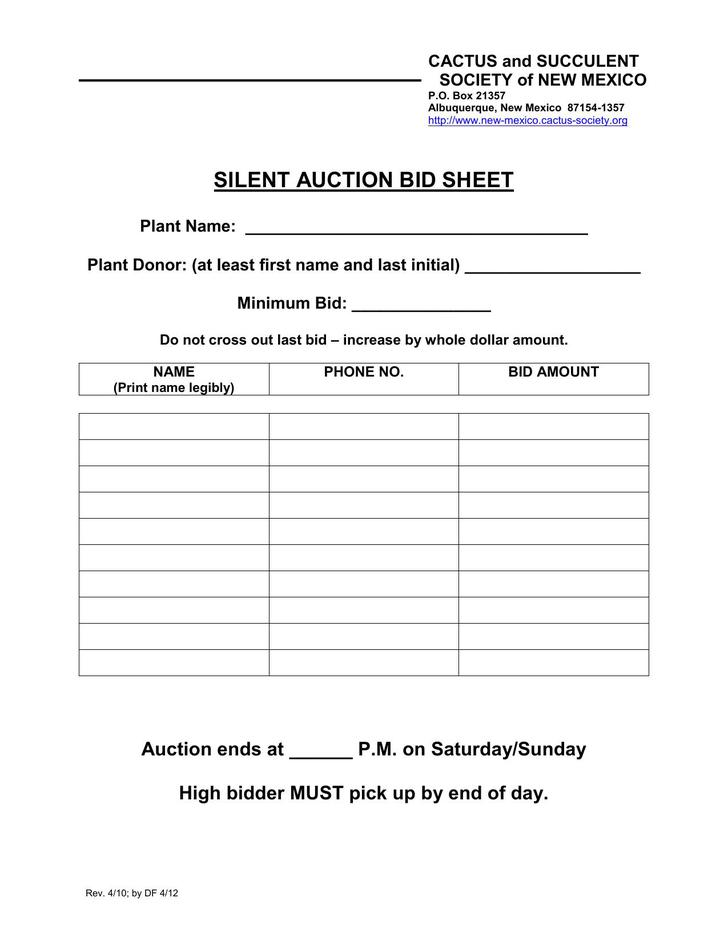 Sample Silent Auction Bid Sheet Free Bid Sheets Free Bid Sheets