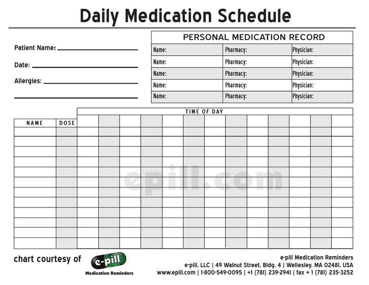 Medication Schedule Templates Download Free  Premium Templates - pill calendar template