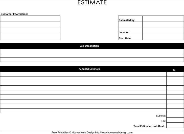 Estimate Forms Free Estimate Template Forms Construction Repair