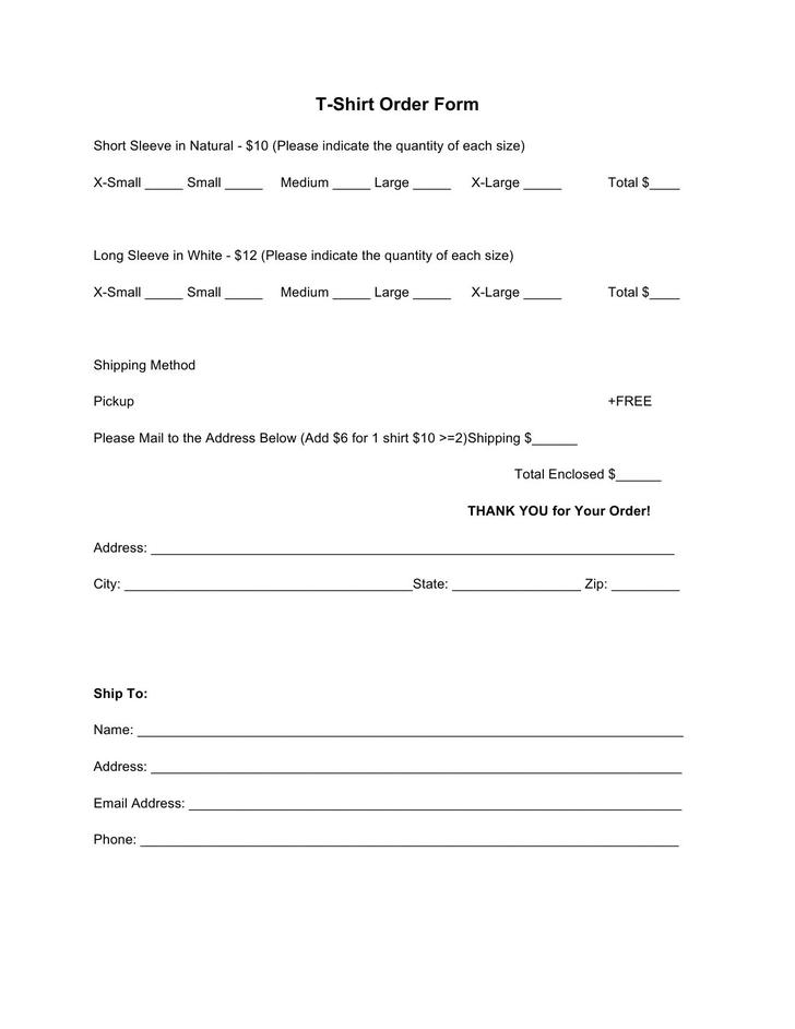 24+ T-Shirt Order Form Template Free Download