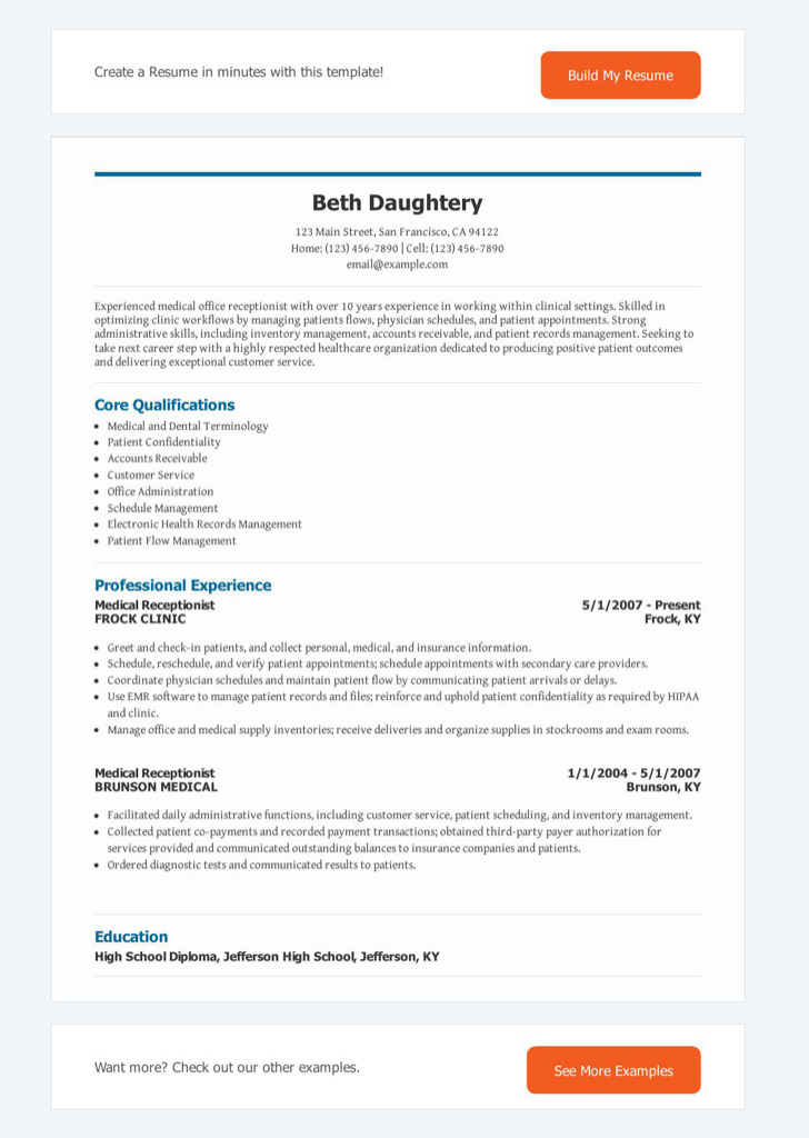 Receptionist Resume Templates Download Free  Premium Templates