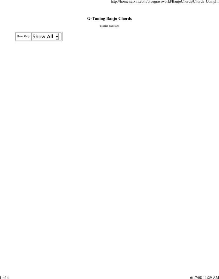 Banjo Chord Chart Template  EnvResumeCloud