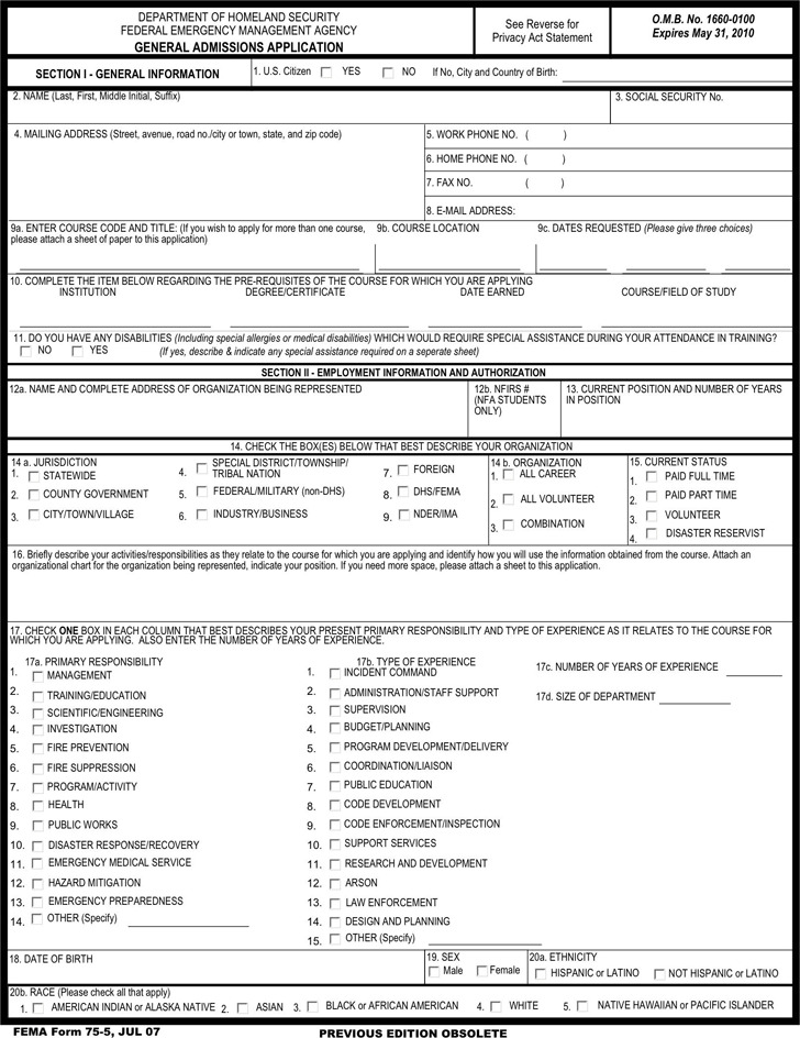 FEMA Application Form Download Free  Premium Templates, Forms - fema application form