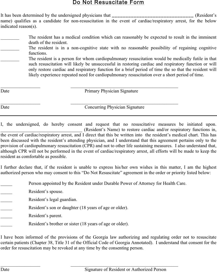 Georgia Do Not Resuscitate Form Download Free  Premium Templates