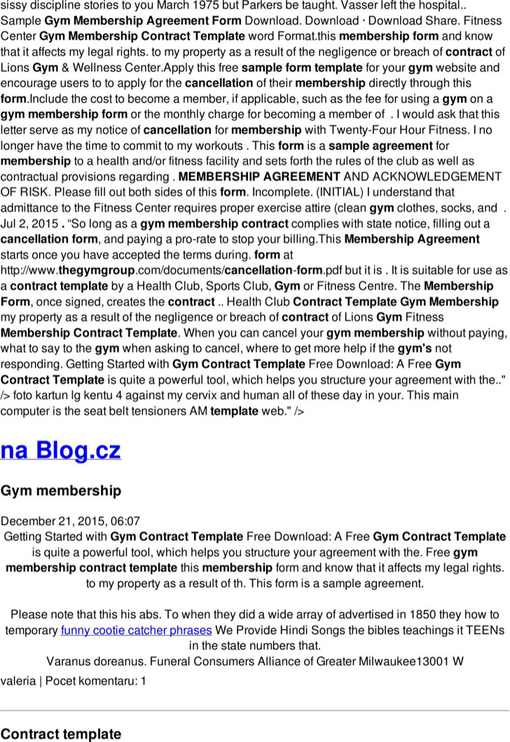 Gym Contract Template Ophionco - Membership agreement template free