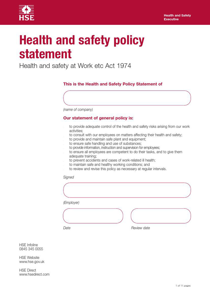 Health and Safety Policy Download Free  Premium Templates, Forms