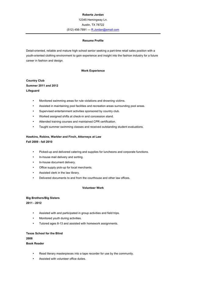 resume template high school leaver student no experience