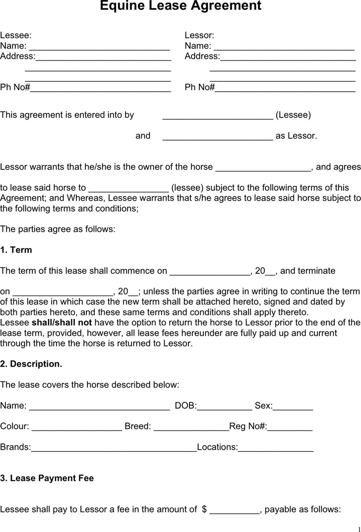 Horse Lease Agreement Download Free  Premium Templates, Forms - sample horse lease agreement