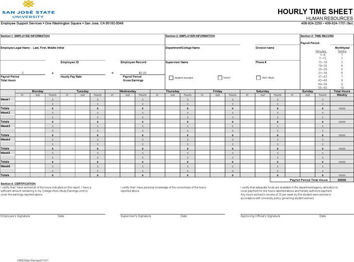 Employees Grant County Schools Hourly Timesheet Template Download Free And Premium