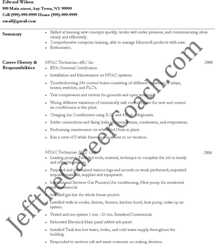hvac technician resume sample