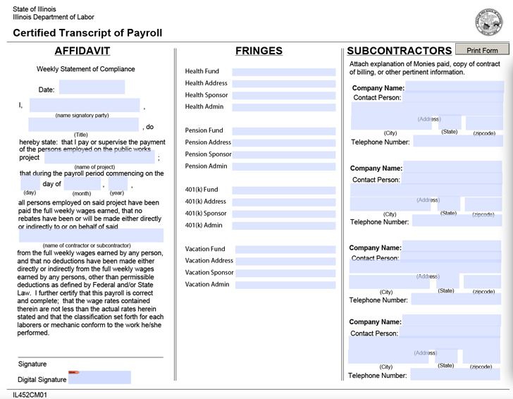 Illinois Certified Payroll Form Download Free \ Premium - certified payroll form
